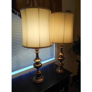 Pair vtg footed antique brass tall table lamps stiffel ethan