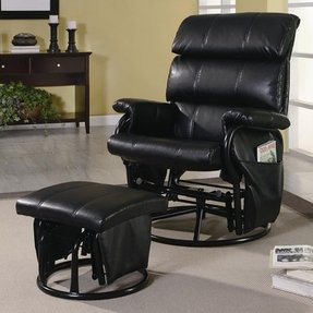 Rocker glider recliner with ottoman 1