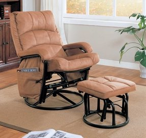 Rocker glider recliner with ottoman 2