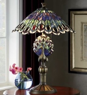 Tiffany peacock feather table lamp 3