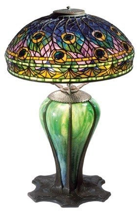 Marvelous Tiffany Peacock Feather Table Lamp 5