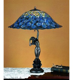 Tiffany peacock feather table lamp 6