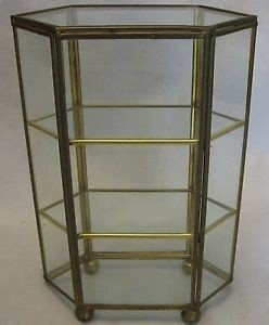 Vintage Brass Glass Curio Display Cabinet 6 Sides 3 Shelf Table Top Collectibles