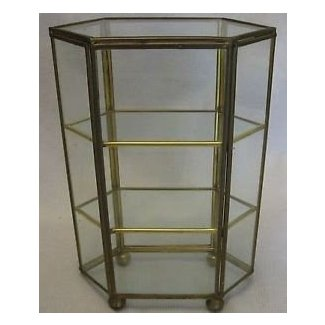 Vintage brass glass curio display cabinet 6 sides 3 shelf