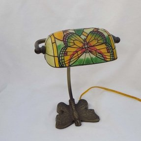 Vintage butterfly hand painted lamp