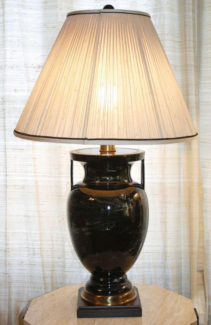 Vintage Frederick Cooper Table Lamp Swirl Pattern Urn Porcelain Brass