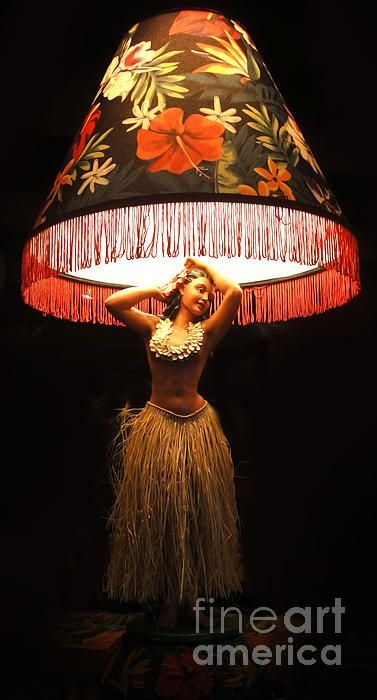 Vintage hula girl lamp 1