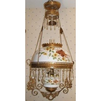 Antique b h hanging oil lamp w cabin and birds