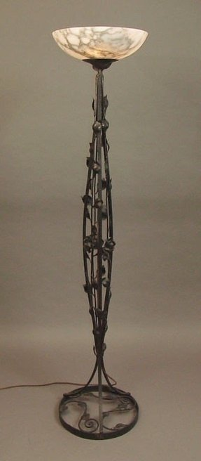 French art deco wrought iron alabaster torchiere floor lamp