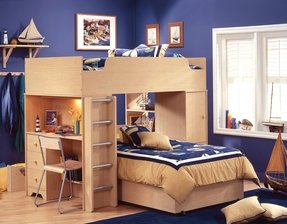 Kids bed with desk