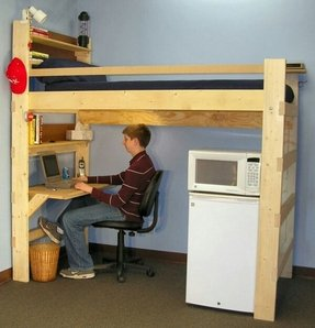 Kids loft bed with desk underneath 1