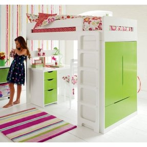 Kids loft bed with desk underneath
