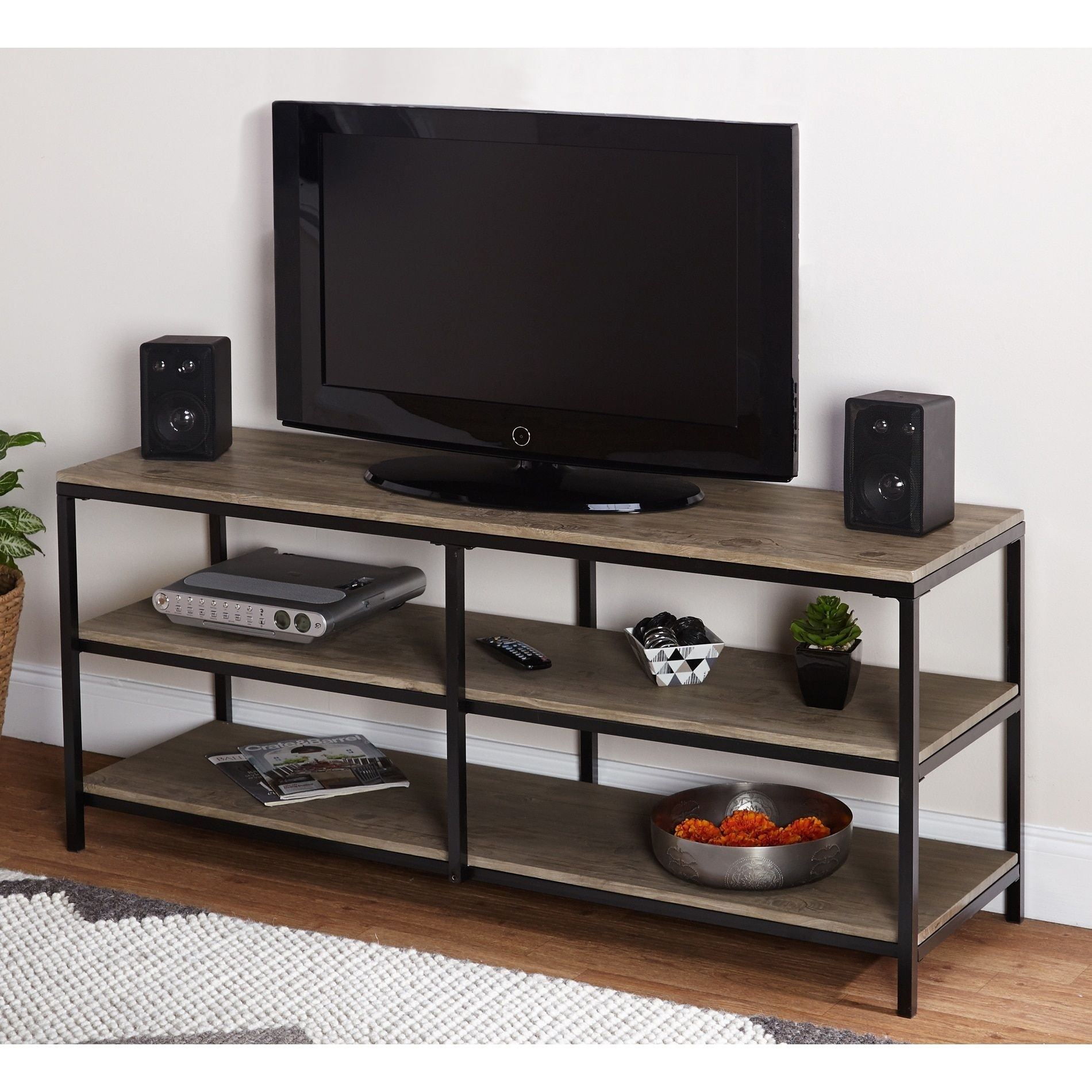 TV Stand In Modern Style. It Is Made Of Metal And Glass. Includes 2 Open  Shelves For Storing DVD, Game Console And Others TV Components.