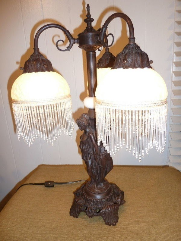 Portable Luminaire Victorian Triple Table Lamp Glass Shades Marble 3 Three