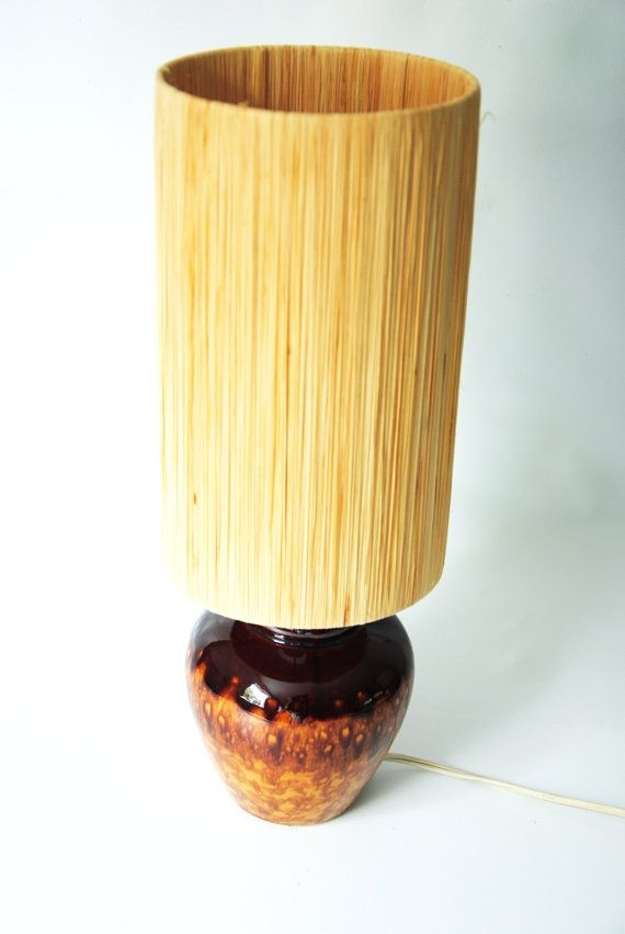 Single mid century drip glaze lamp