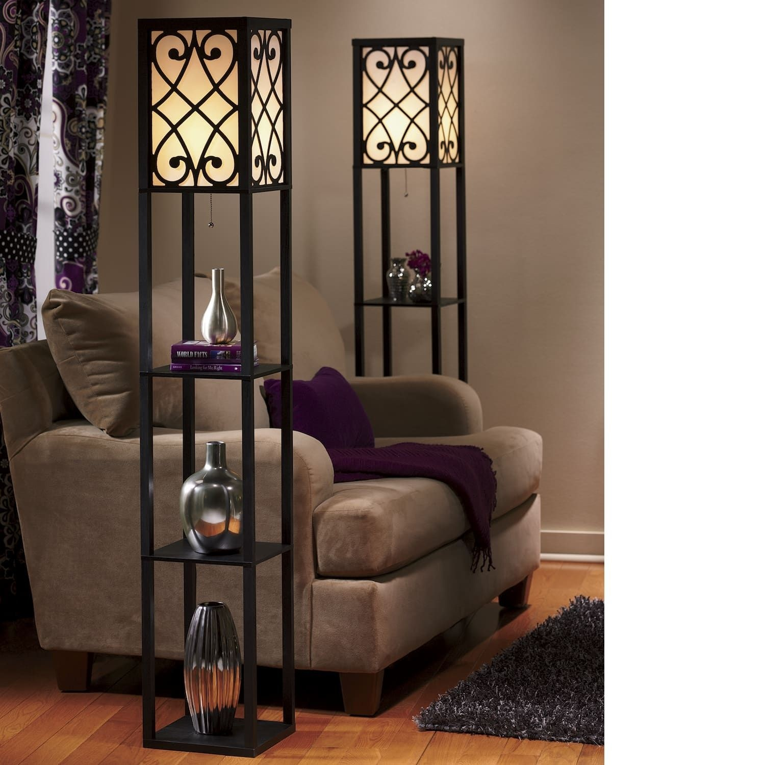 Delightful Standing Lamp With Shelves