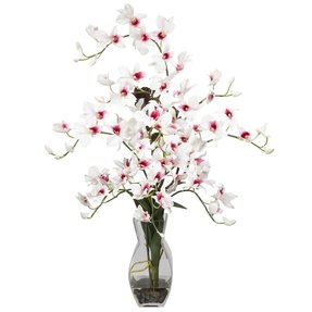 This Elegant Dendrobium White Silk Flower Arrangement With Acrylic Water