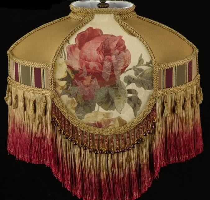 "Victorian French Medium Lamp Shade Wine and  5/"" Bead Fringe!"