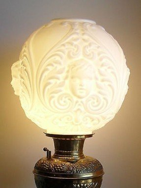 Milk glass lamp shade foter glass lamp shade vase c1940s vintage gwtw styl ball banquet oil blown out cherub milk aloadofball Gallery