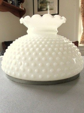 Vintage large hobnail milk glass lamp