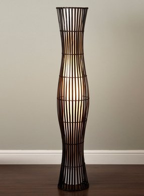 White wicker floor lamp