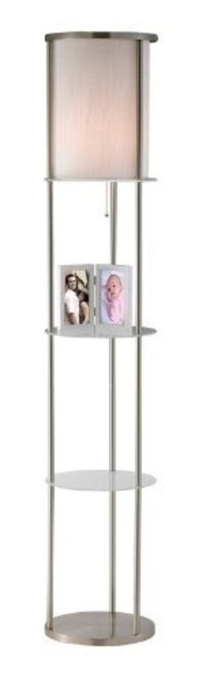Adesso 3666-22 Holden Shelf Floor Lamp, Satin Steel Finish