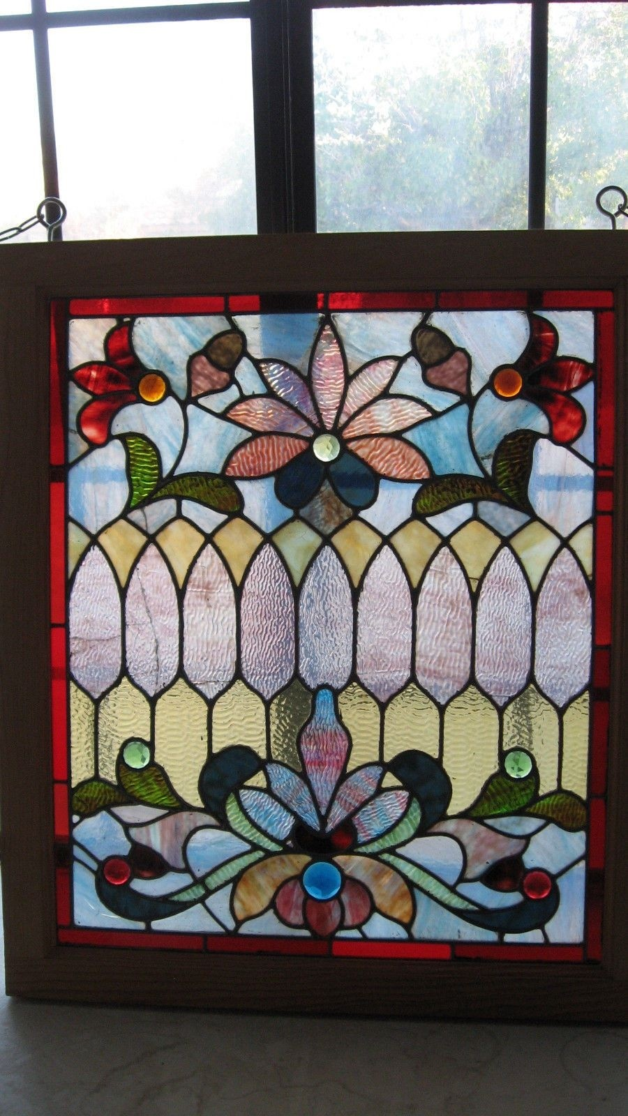 Antique Stained Glass Window W Distinct Rippled Glass Jewels Flowers Pattern