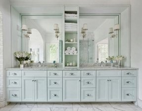 Bathroom vanities with storage towers