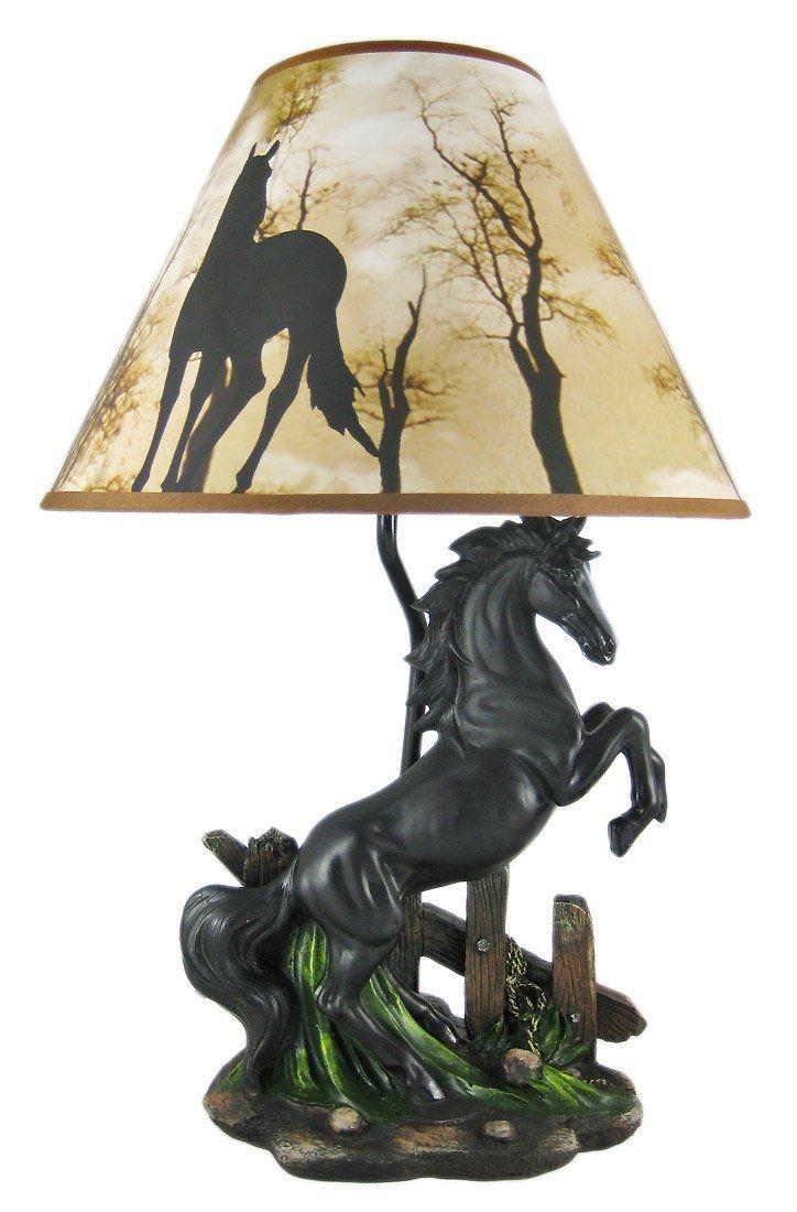 Black Stallion Horse Table Lamp W/ Nature Print Shade