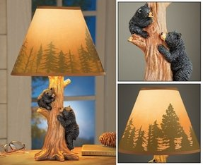 Climbing Bear Family Northwoods Lamp