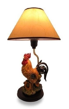 Colorful Crowing Rooster Table Lamp W/Leather Look Shade