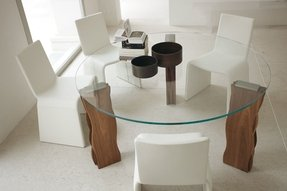 Glass dining table with wood base 15