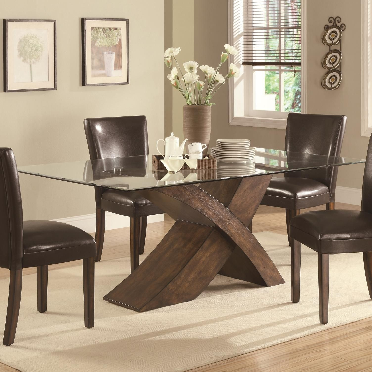 Glass Dining Table With Wooden Legs