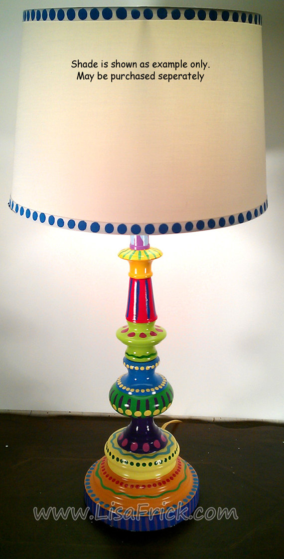 Hand painted table lamp 002 fun funky