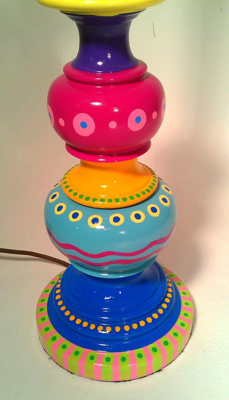 Hand painted table lamp 004 fun funky