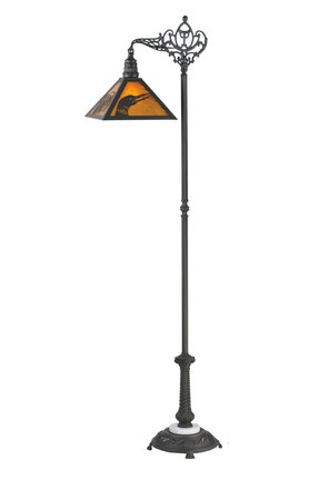 Meyda Tiffany Custom Lighting 107463 Loon Pine Needle 1-Light Floor Lamp, Mahogany Bronze Finish with Beige Art Glass Shade and Marble Accent