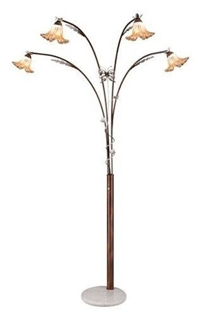 OK Lighting OK-9738-SP1 Flower Glass Shade Metal 4-Arch Floor Lamp, 90-Inch, Bronze Finish