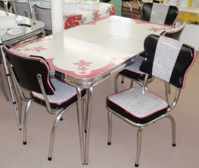 Restored Vintage Red Gray Inlaid Formica Dinette Table W Chairs