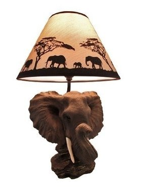 `Safari Light` Elephant Head Table Lamp w/ Silhouette Shade