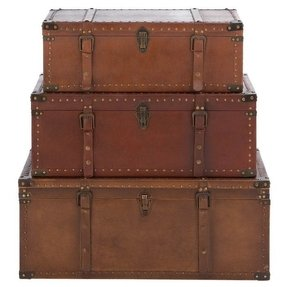 Set of three aged leather and wood trunks product small