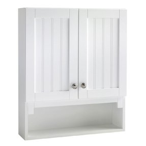 Storage Over Toilet 10 White Beadboard Wall Cabinet Lowes