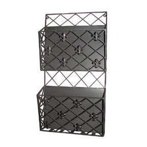 Tuscan Scrolling Wrought Iron Metal Fleur De Lis Wall Magazine Rack