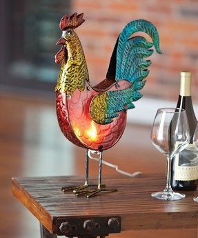 Westward Bound Glass and Metal Rooster Table Lamp