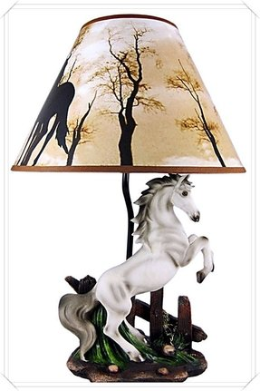 White Stallion Horse Table Lamp W/ Nature Print Shade