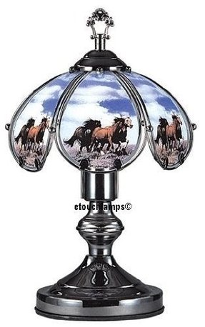14 Inch Horses on Range Touch Lamp