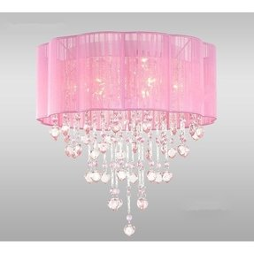 6 Light Pink Chandelier for Girls Rooms with Chrome and Crystal Shaped Pieces