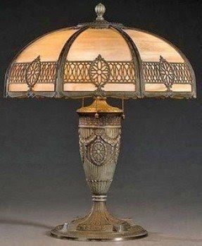 Perfect Antique Slag Glass Lamps 14
