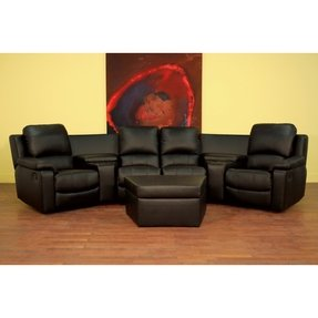 Black leather 7 piece recliner sectional seating w ottoman 1