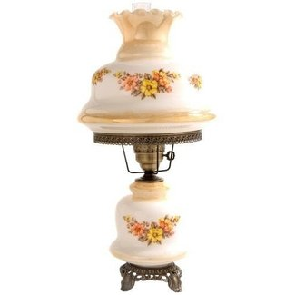 Large Earth Tone Floral Night Light Hurricane Table Lamp
