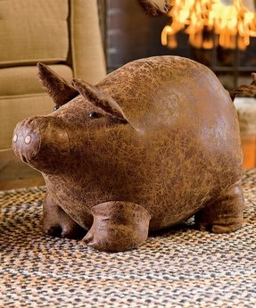 Leather animal ottoman
